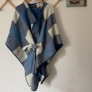 Lucky Brand blue plaid Ruana poncho sweater